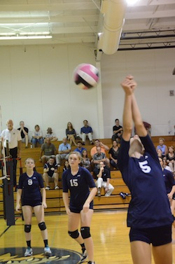 Junior Casey Schauman attempts to save a ball in a volleyball match.